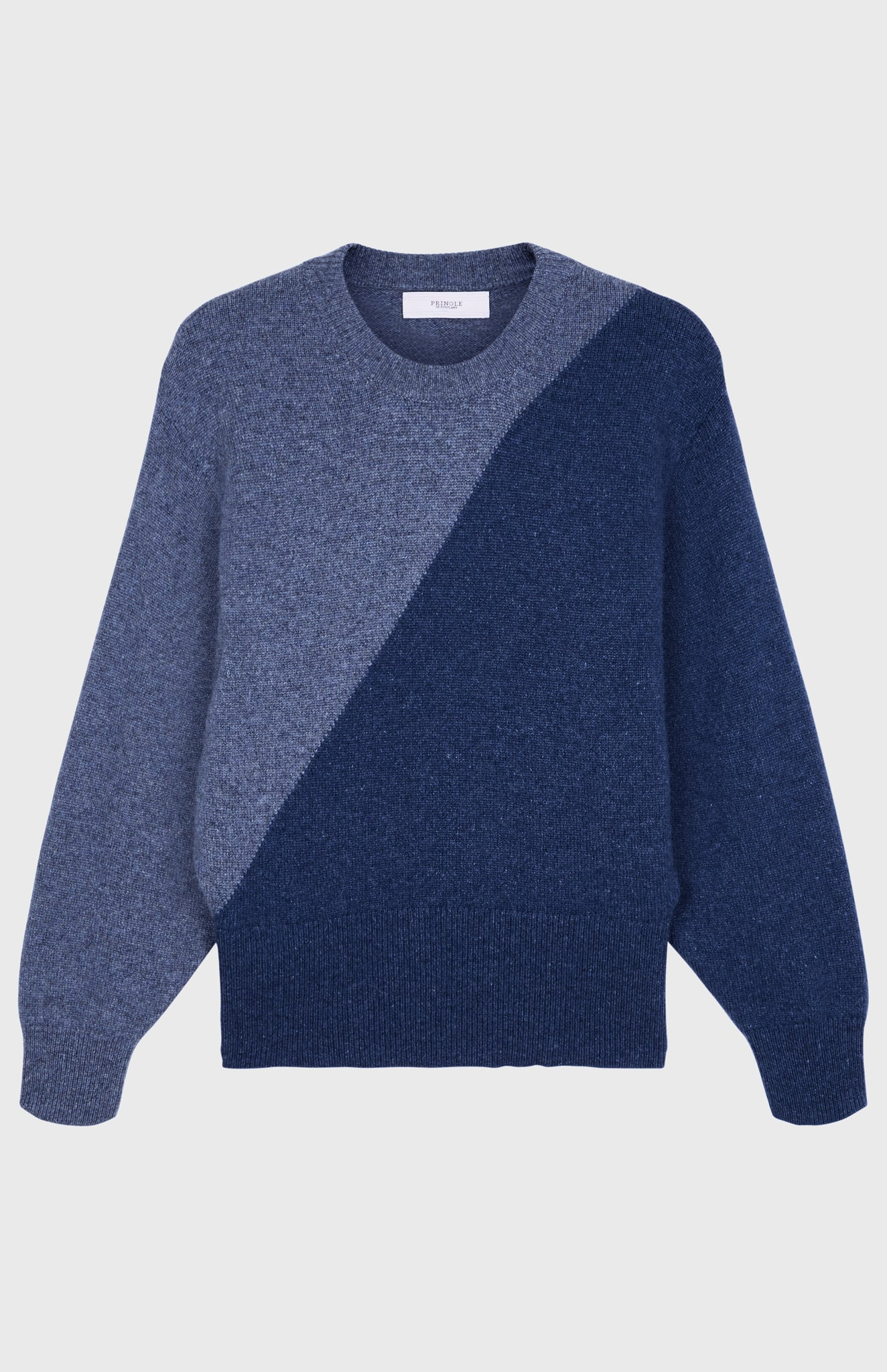 Cosy Cashmere Colour Block Jumper In Blue