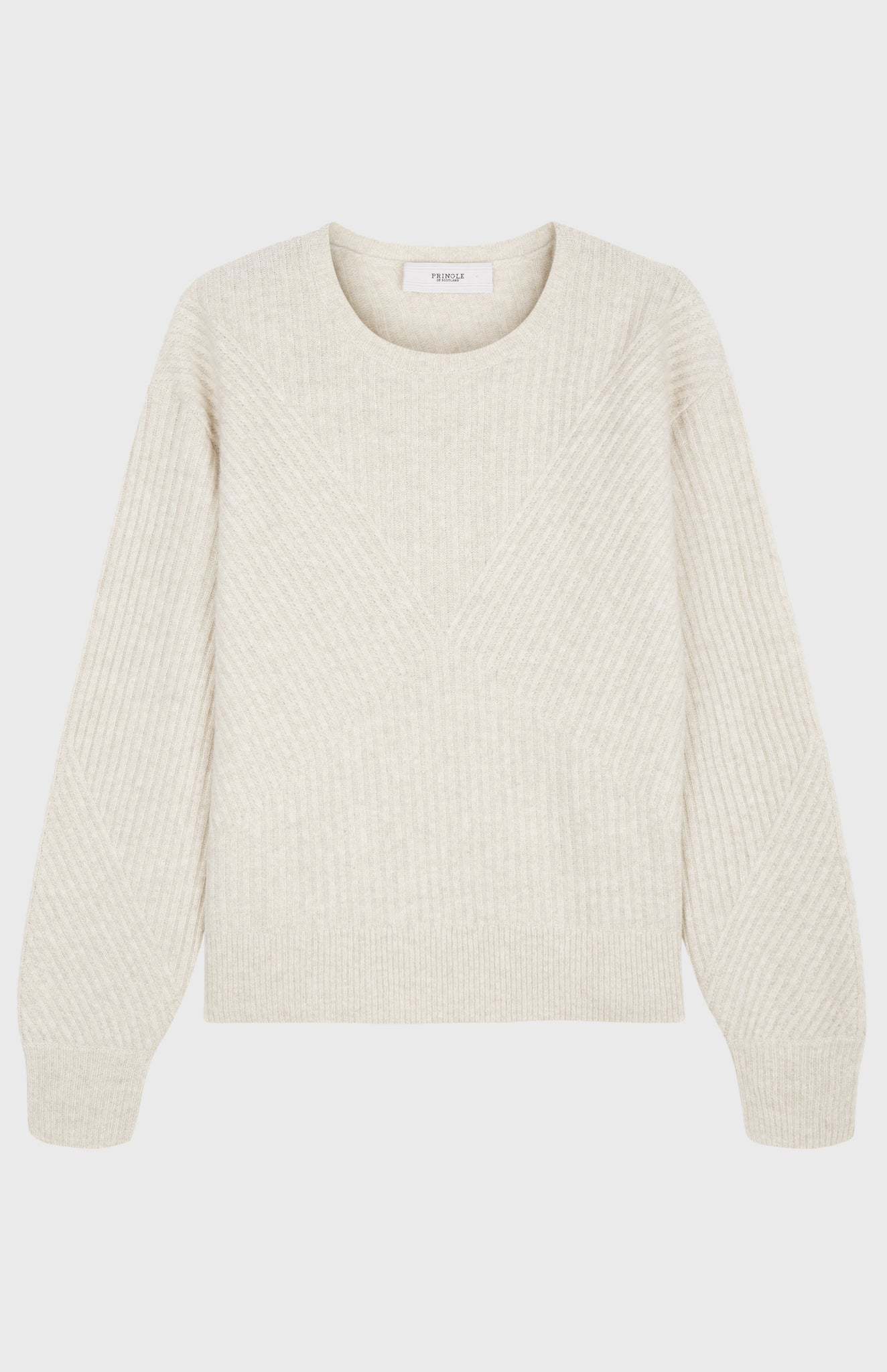 Diamond Ribbed Blouson Sleeve Jumper In Oatmeal