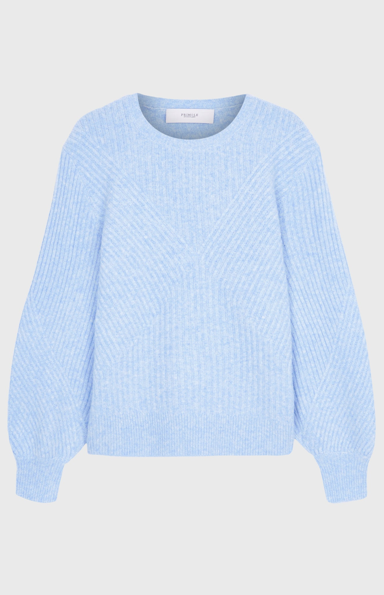 Cashmere Blend Diamond Ribbed Blouson Sleeve Jumper In Light Blue Melange