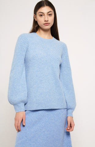 Ribbed Cashmere Jumper in Blue