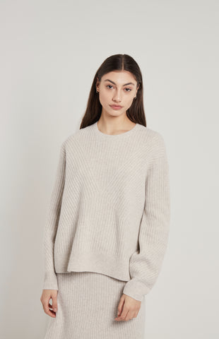 Textured Cashmere Jumper In White