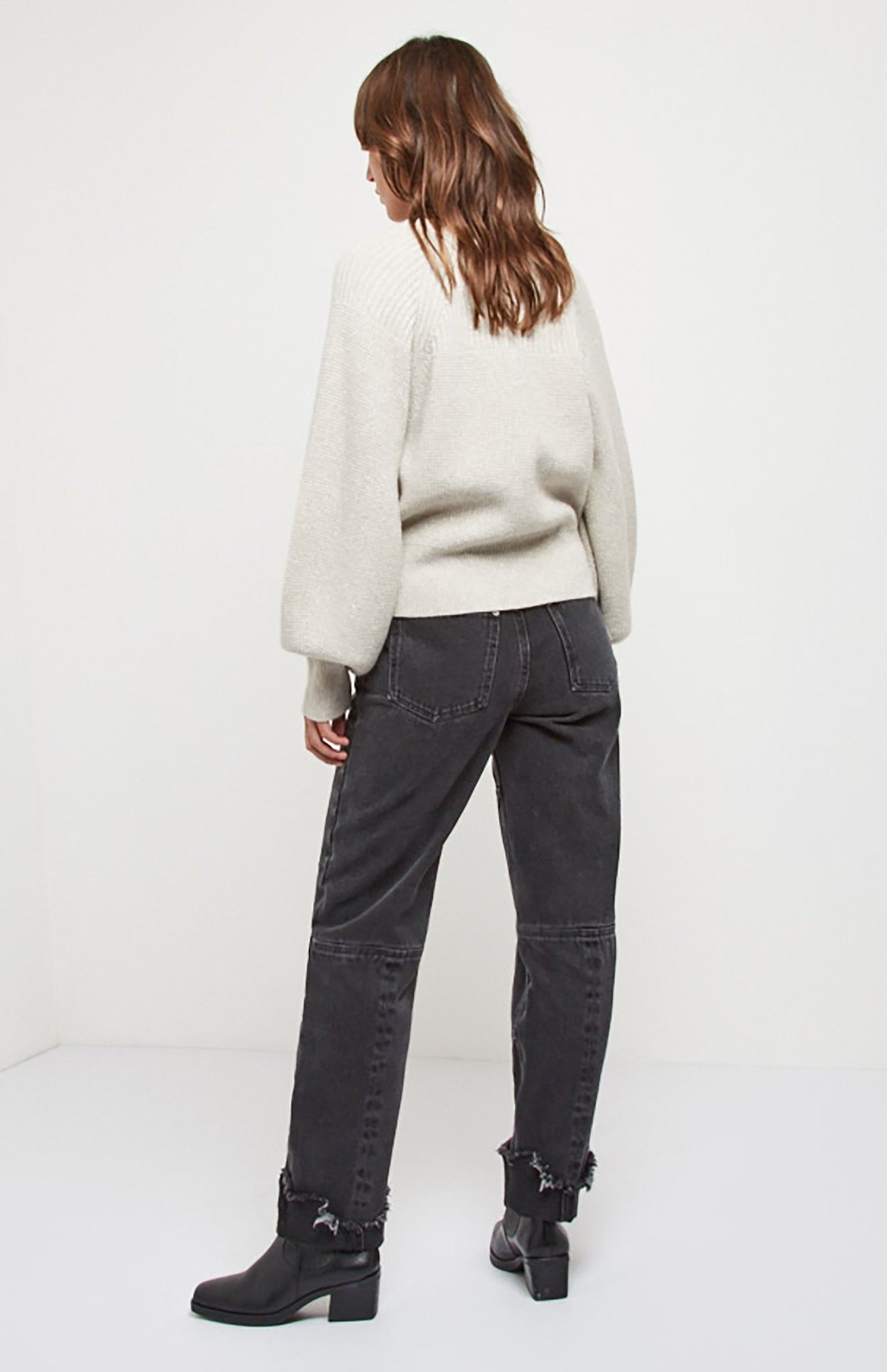 Lurex Blouson Sleeve Jumper In Oatmeal
