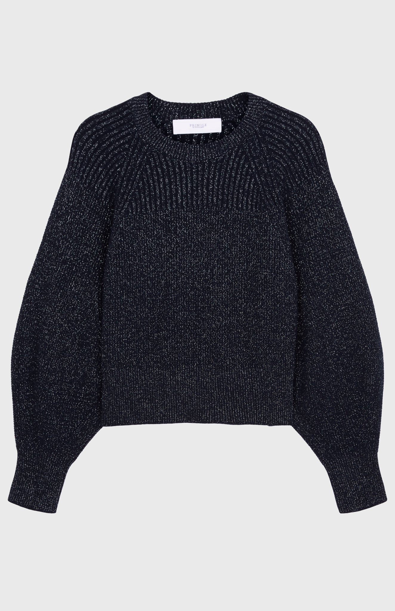 Lurex Blouson Sleeve Jumper In Indigo