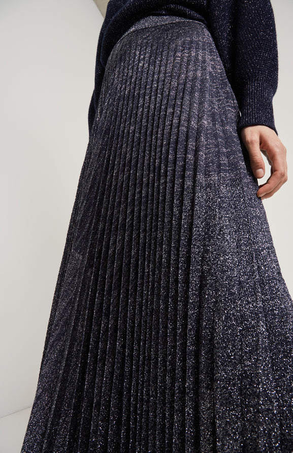 Pleated Lurex Skirt In Navy