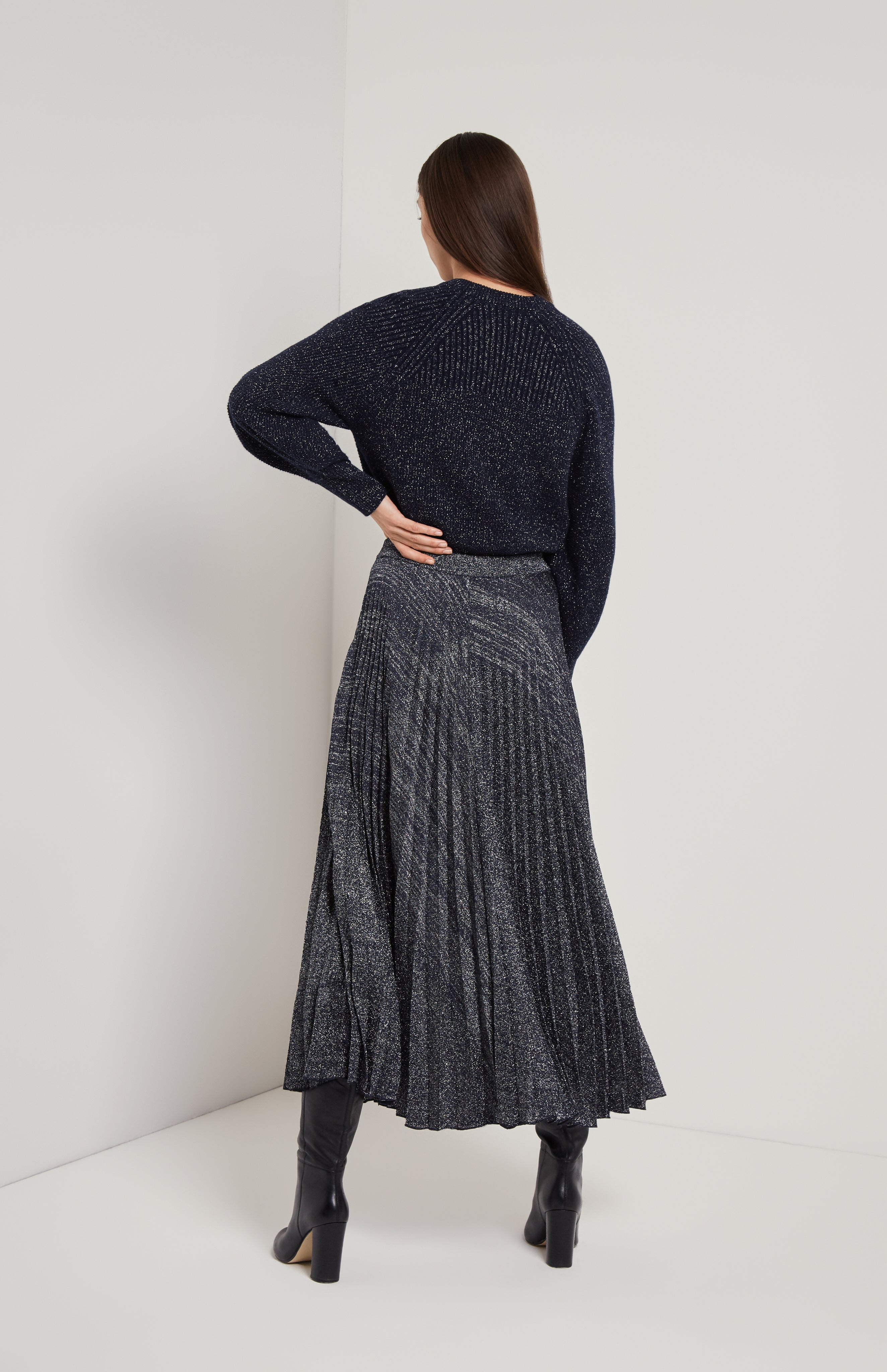 Blouson Sleeve Lurex Jumper In Navy