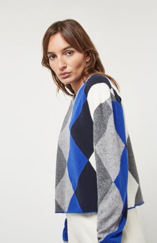 V Neck Argyle Cropped Jumper In Bright Blue