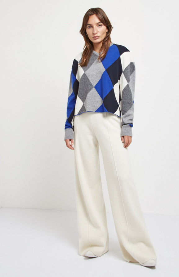 Argyle Cropped Cashmere Jumper In Blue