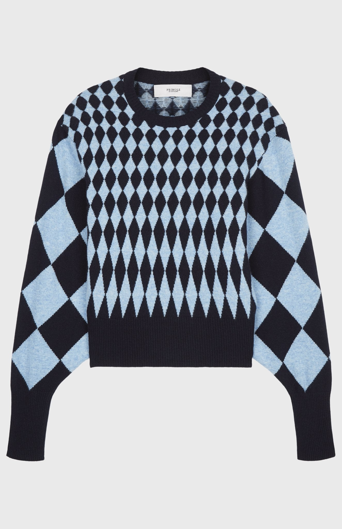 Scaled Diamond Intarsia Jumper In Light Blue