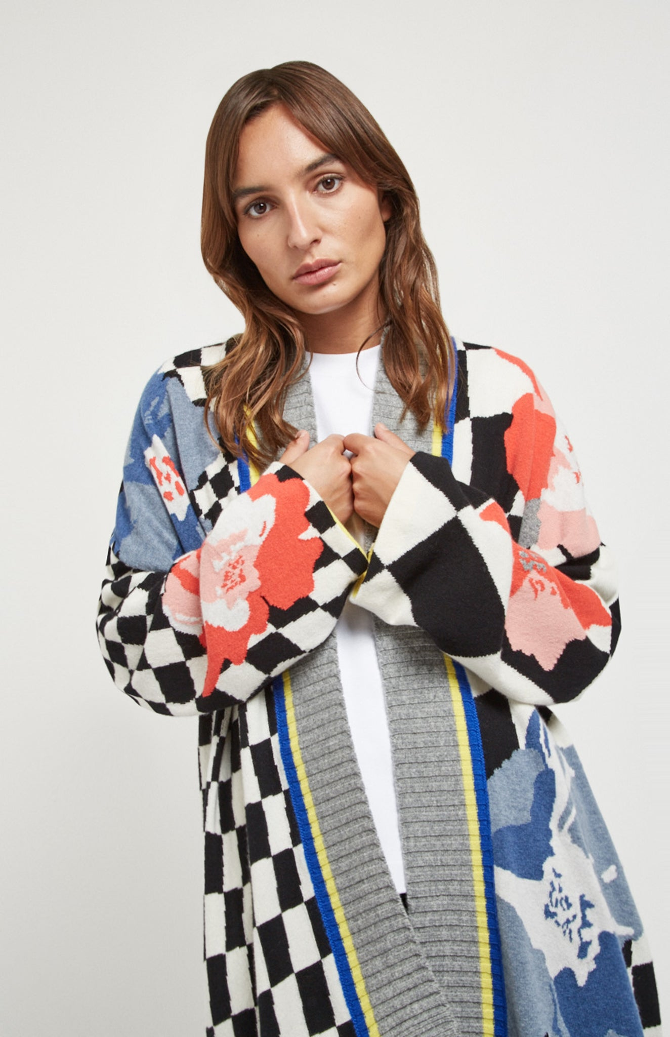 Floral Argyle Oversized Cardigan In Floral