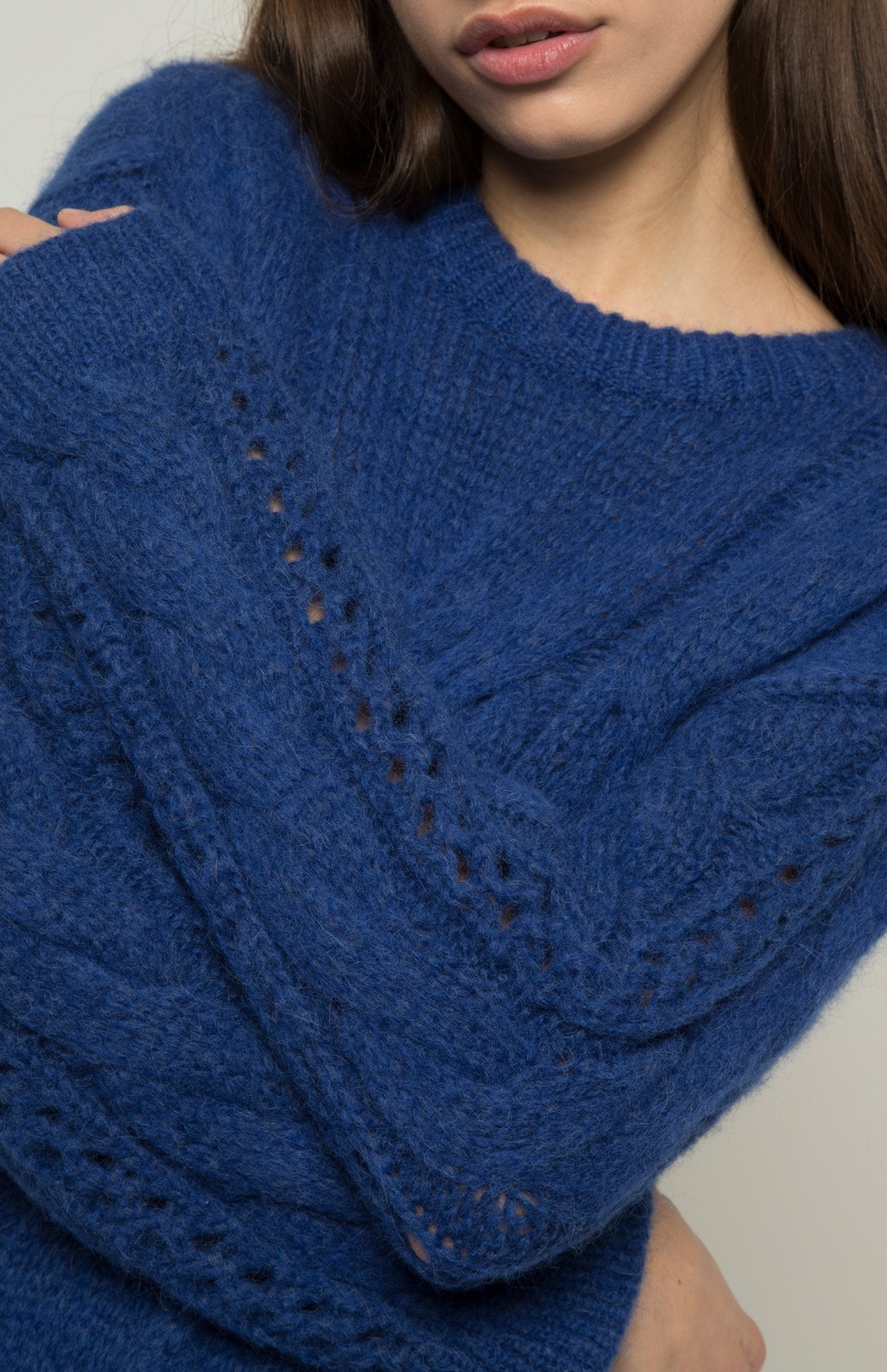 Featherweight Cable Stitch Jumper In Blue