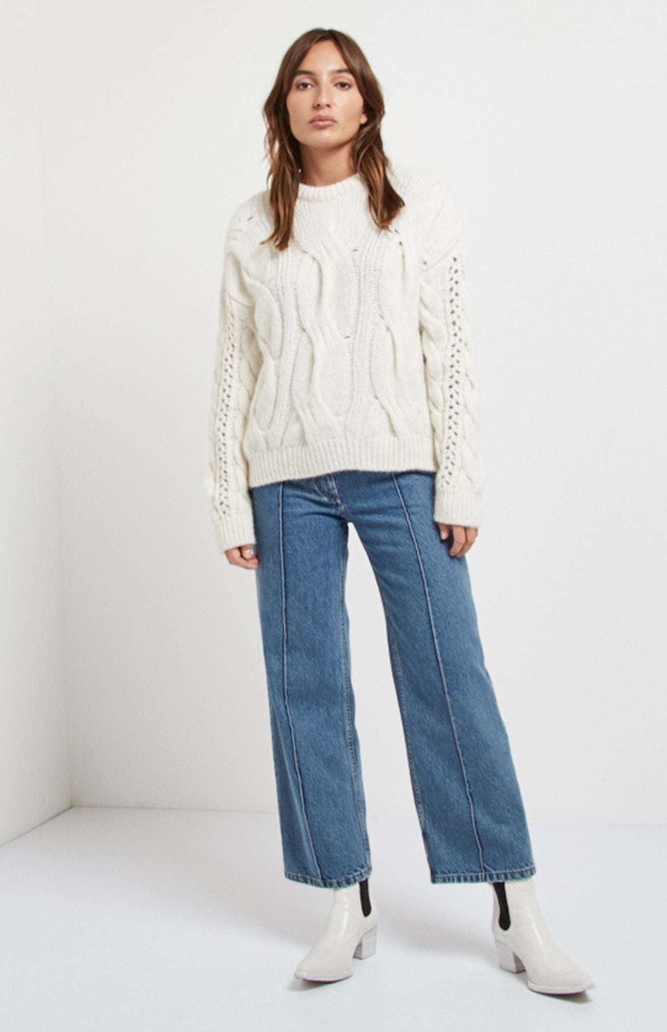 Featherweight Cable Stitch Jumper In Off White