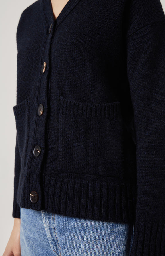 Cosy Cashmere Cardigan In Navy