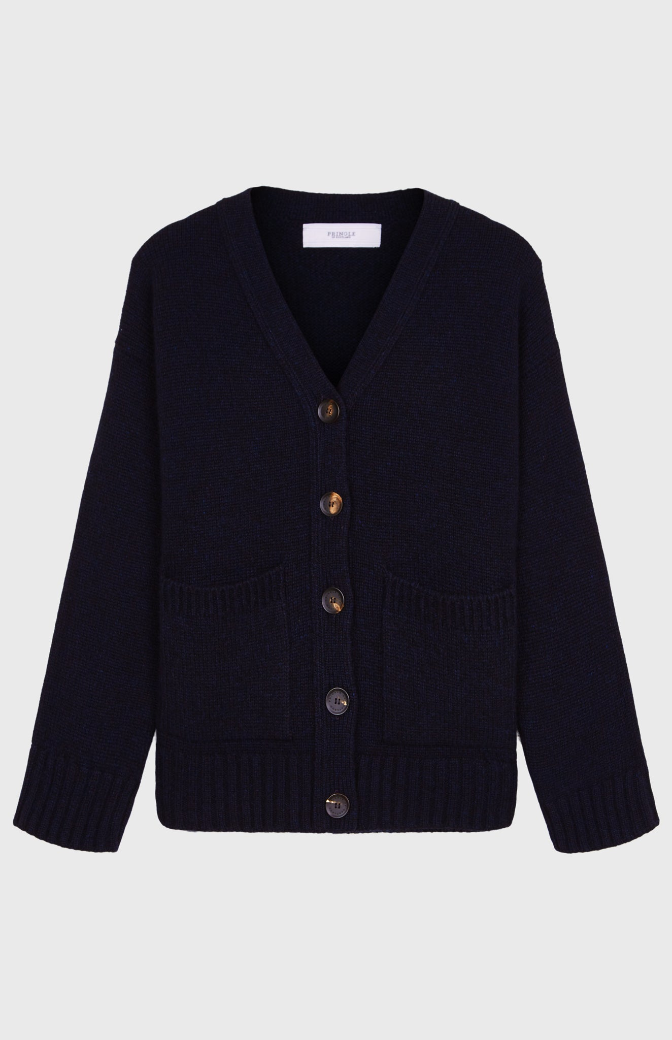 Cropped Cosy Cashmere Cardigan In Midnight