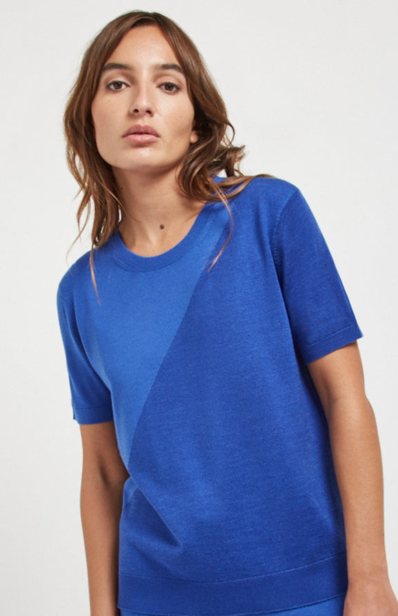 Textured Merino T Shirt In Blue