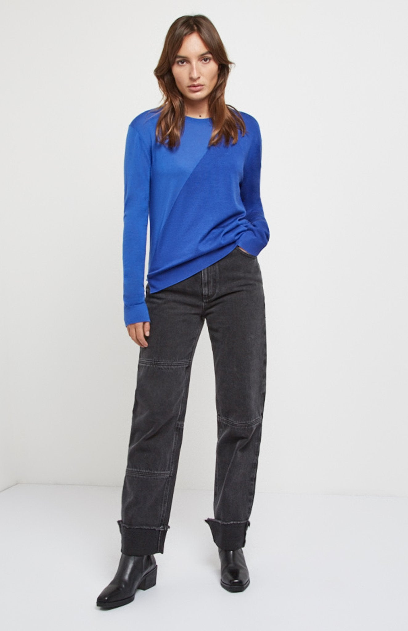 Women's Merino Silk Jumper In Bright Blue