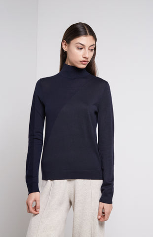Merino Silk Roll Neck Jumper In Midnight