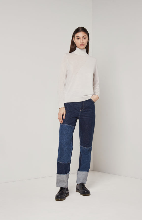Textured Merino Jumper In White