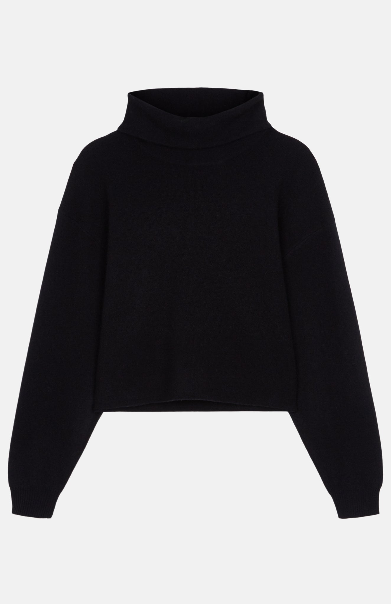Cashmere Blend Cropped Batwing Roll Neck Jumper In Black