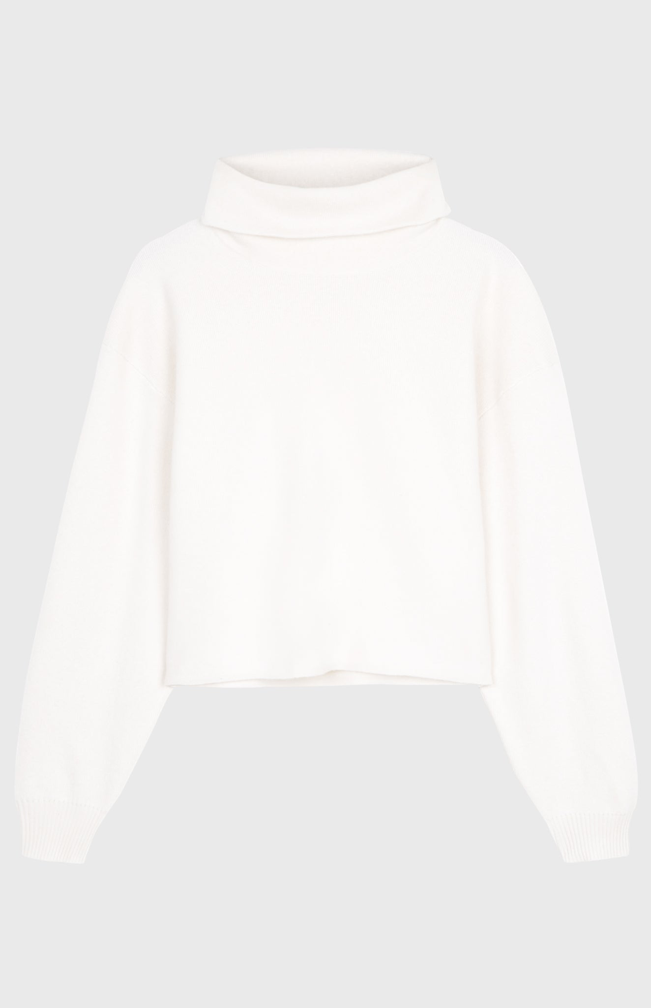 Cashmere Blend Cropped Batwing Roll Neck Jumper In Cream