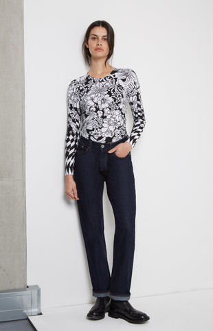 Floral Cotton Jumper In White/Black