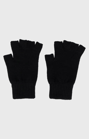 Women's Cashmere Fingerless Gloves In Black