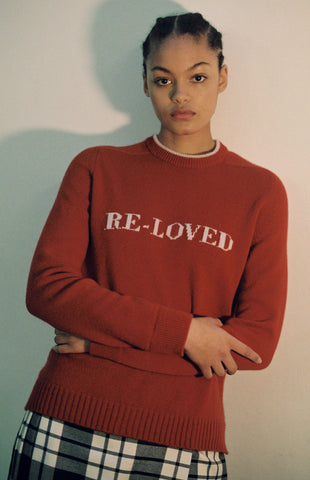 Re-loved Recycled Cashmere Jumper In Red