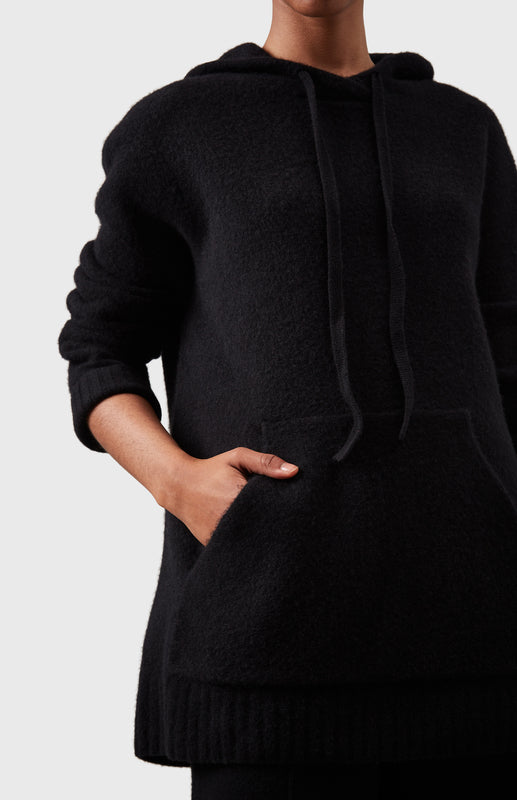 Oversized Soft Cashmere Hoodie In Black
