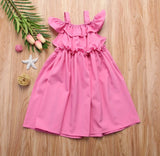 Kids Pink Cold Shoulder Ruffle Dress