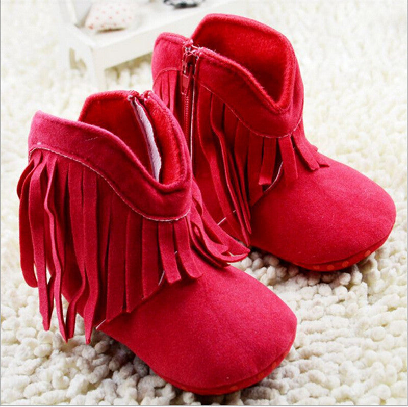 Fringe Baby Booties Crib Shoes - Red