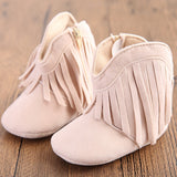 Fringe Baby Booties Crib Shoes - Off White