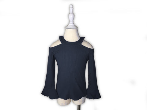 Girls Cold Shoulder Bell Sleeve Top-Navy Blue