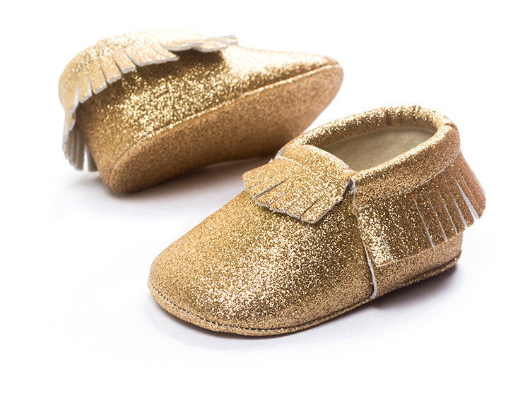 Glitter Baby Moccasins Crib Shoes