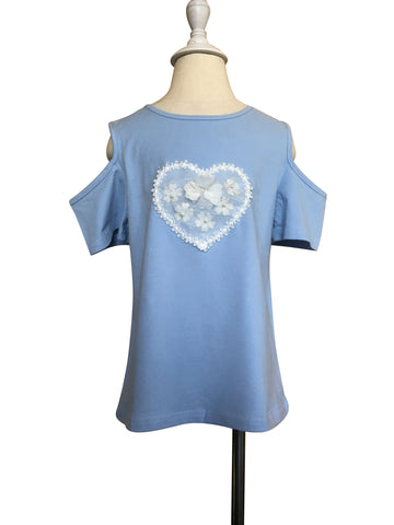 Blue Flower Heart Cold Shoulder Top