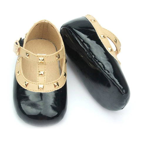 Baby Infant Rock Studded Crib Shoes Mary Janes - Black