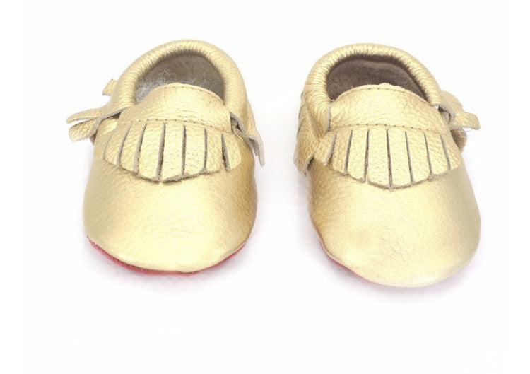 Red Bottom Louie Baby Fringe Moccasins - Gold