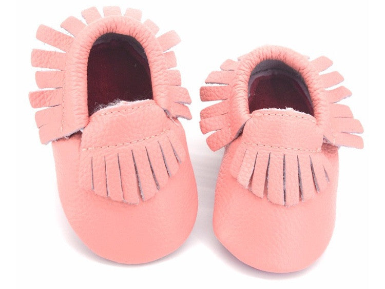 Red Bottom Louie Baby Fringe Moccasins - Pink