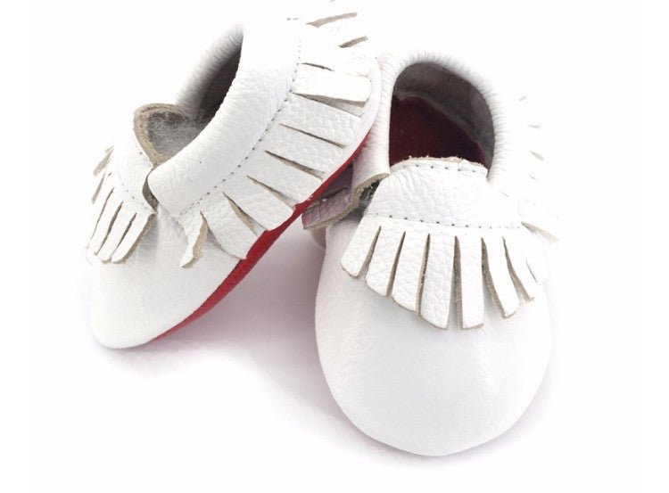1897f0e598e Red Bottom Louie Baby Fringe Moccasins - White