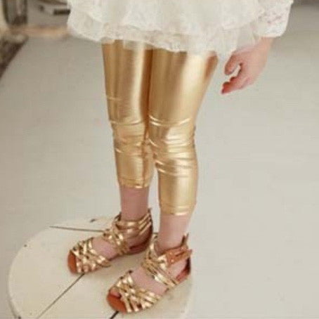 Kids Faux Leather Leggings - Gold