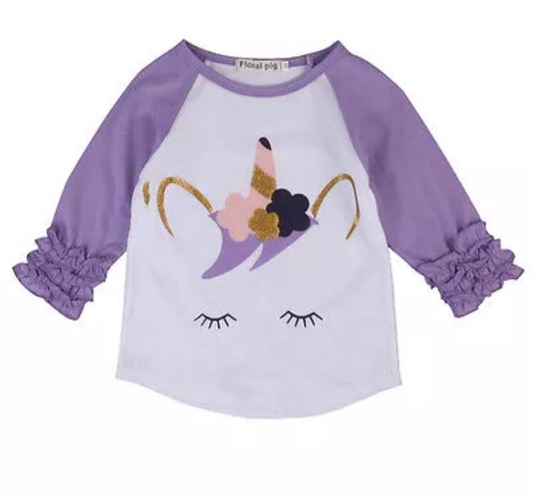 Kids Purple Unicorn Raglan Tee