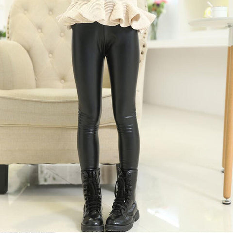 Kids Faux Leather Leggings - Black