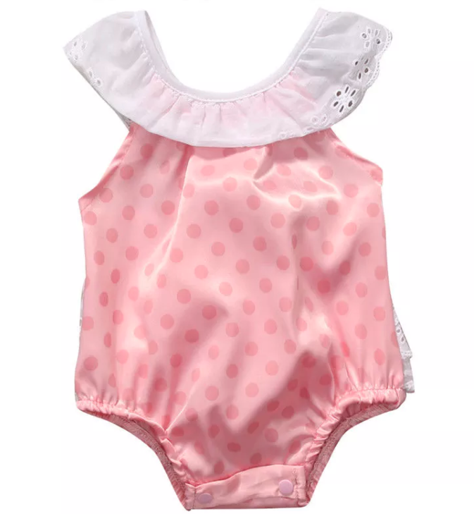 Lace and Pink Polka Dot Onesie