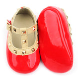 Baby Infant Rock Studded Crib Shoes Mary Janes - Red