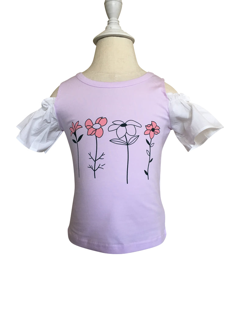 Flower Cold Shoulder Top