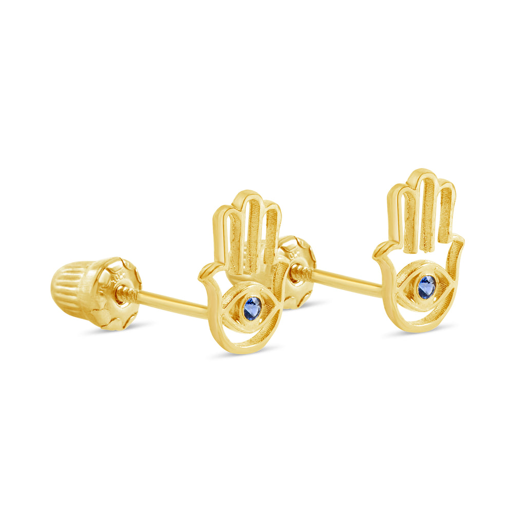 Baby/Kids 10 kt gold Hamsa evil eye screwback earrings