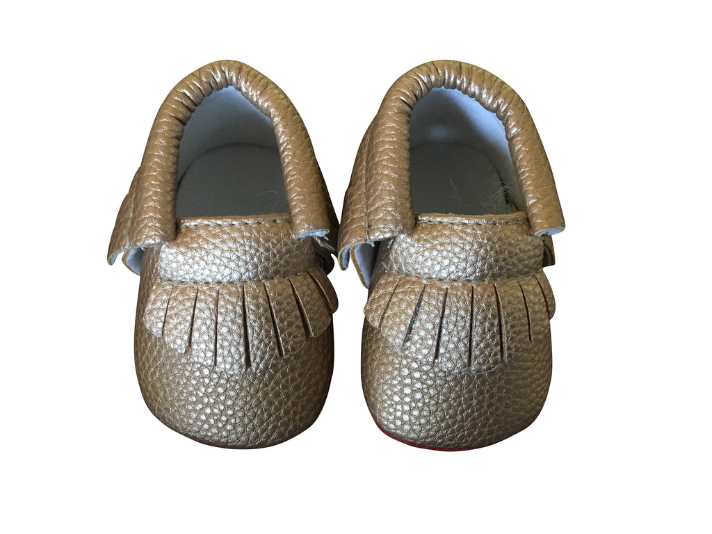 Red Bottom Louie Baby Fringe Moccasins - Bronze