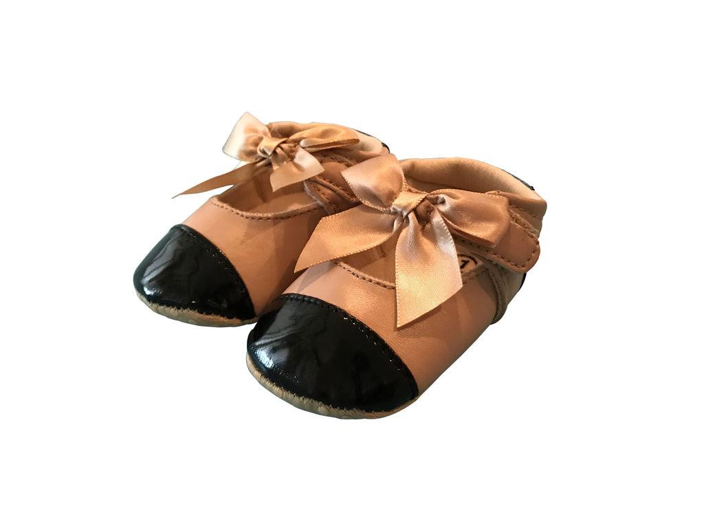 Baby Ballet Crib Shoes-Beige and Black