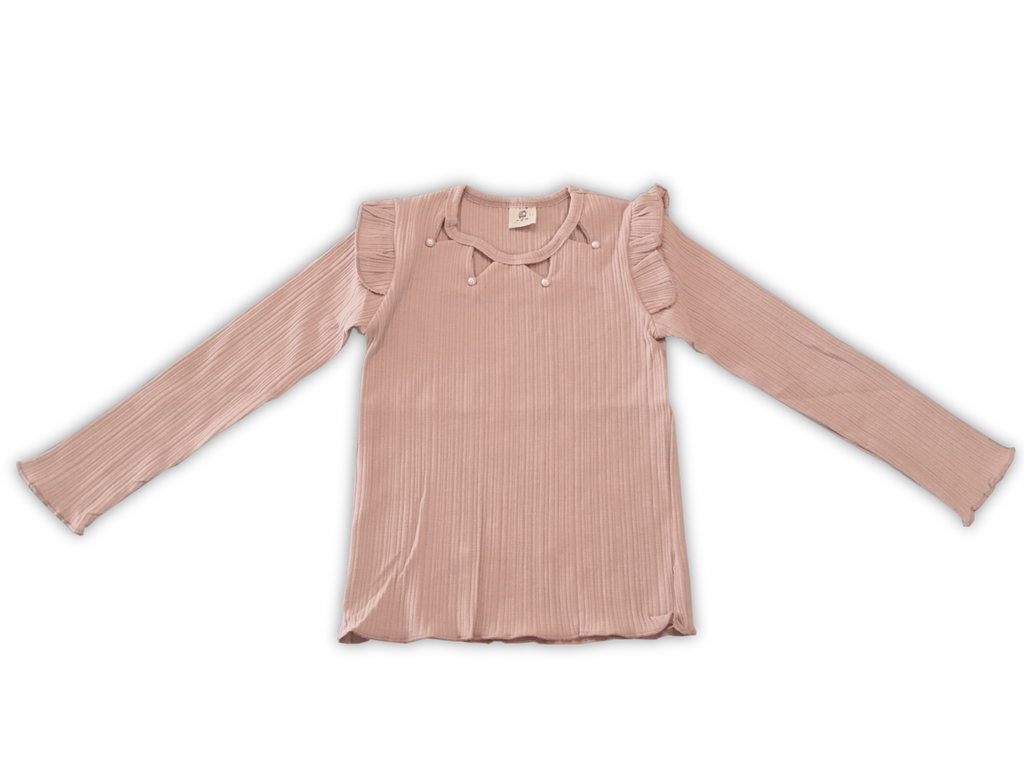 Kids Pink Long Sleeve Pearl Shirt