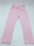 Sparkly Bejeweled Girls Leggings - Pink, White, Black