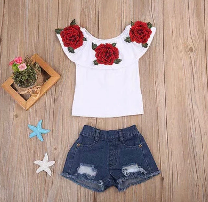 Rose Embroidered Shirt with Distressed Jean Shorts
