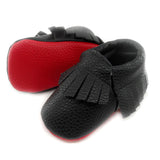 Red Bottom Louie Baby Fringe Moccasins - Black